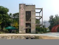 Coffee shop at thai dam Stock Photo