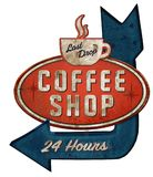 Coffee Shop Tin Sign with Arrow. Coffee Shop Tin Sign Cup Arrow Vintage Old Retro Rusted American Stock Photos