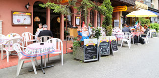 The coffee shop in a town,the alps,switzerland royalty free stock photos