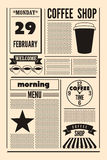 Coffee Shop typographical vintage newspaper style poster or template of menu. Retro vector illustration. Stock Photography