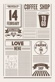 Coffee Shop typographical vintage newspaper style poster or template of menu for Valentine`s Day. Retro vector illustration. Coffee Shop typographical vintage Royalty Free Stock Photo