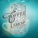 Coffee shop Typography on blurred  Background Royalty Free Stock Images