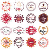 Coffee shop vector design elements in vintage style. Set of vector labels vector illustration