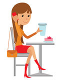 Coffee shop vector flat illustration. Young woman drink coffee at the table. Vector illustration of a coffee break on white background Royalty Free Stock Photography