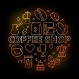 Coffee Shop Vector Round Golden Illustration On Dark Background Royalty Free Stock Photo
