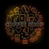 Coffee shop vector round golden illustration on dark background. Coffee shop vector round golden illustration in thin line style on dark background Royalty Free Stock Photo