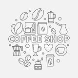 Coffee shop vector round illustration in thin line style. Coffee shop vector round concept illustration in thin line style Stock Image