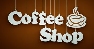 Coffee Shop - White Letters Hanging on the Ropes Royalty Free Stock Photo
