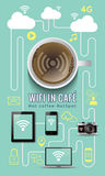 Coffee shop wifi infographic concept with icons Stock Photos