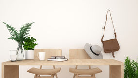 Coffee shop or workspace clean design - 3D Rendering Stock Photos