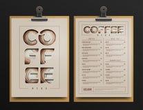 Coffee shopmenymall Kaffevagnsåtlöje upp också vektor för coreldrawillustration royaltyfri illustrationer