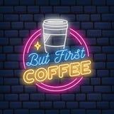 Coffee shopneontecken på tegelstenbakgrund stock illustrationer
