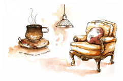 Coffee shops element drawing royalty free stock photography