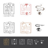 Coffee shopsymbolsuppsättning Arkivbilder