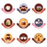 Coffee shopvektorlogo, etikett, klistermärke, emblemuppsättning Isolerade designbeståndsdelar för kafé eller för restaurangfrukos stock illustrationer