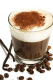 Coffee in a short glass with milk froth beans and. Espresso coffee in a short glass with milk froth chocolate powder coffee beans and vanilla beans on white royalty free stock photo