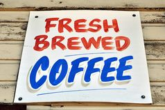 Coffee Sign. Fresh brewed coffee sign with a retro look Royalty Free Stock Image