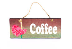 Coffee sign. Wooden coffee sign with lotus painting Stock Image