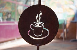 Coffee sign. Rusted metal coffee house sign Stock Photos