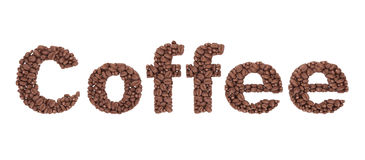 Coffee Sign from coffee beans Stock Photos