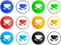 Coffee sign icons. Collection of coffee cup sign icons isolated on white Stock Photography