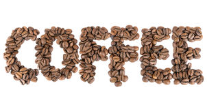 Coffee sign made of coffee beans. Isolated on white background Royalty Free Stock Image