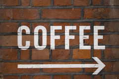 Coffee sign. Painted coffee sign on a building Stock Photography