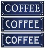 Coffee Sign Vintage Enamel blue embossed metal tin. Bistro style shop house lettering logo retro vector illustration