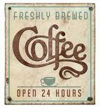 Coffee Sign Vintage on Tin Embossed Open 24 Hours. Rustic Freshly Brewed Old Weathered stock photography