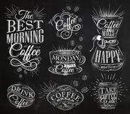 Coffee signs chalk. Set of coffee signs lettering drawing chalk in vintage style on chalkboard Stock Image