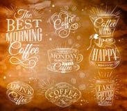 Coffee signs kraft Stock Photos