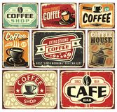 Coffee signs and labels collection. Retro coffee posters set Stock Illustration