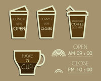 Coffee signs. Open and Closed elements. Dream Stock Image