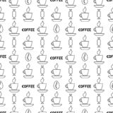 Coffee simple seamless pattern. Outline vector background. Coffee simple seamless pattern. Outline background. Vector illustration stock illustration