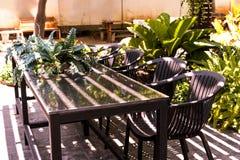 Coffee sitting corner in the garden stock image