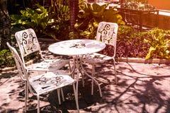 Coffee sitting corner in the garden royalty free stock photos