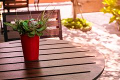 Coffee sitting corner in the garden stock photo