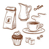 Coffee. Sketch with cup of coffee, coffee beans, cupcake, milk, packet of coffee and sugar cubes.  on white background. Hand drawn vector illustration Stock Photo