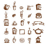 Coffee sketch, design elements Royalty Free Stock Photography