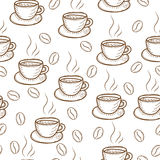 Coffee sketch hand drawing pattern vector illustration. Royalty Free Stock Photography