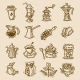 Coffee sketch icons set. With coffee-bulb turk beans isolated vector illustration Royalty Free Stock Images