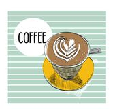 Coffee cup vector hand drawn illustration. flat white latte sketch. hand drawn cafe drawing. stock illustration