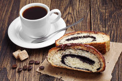 Coffee and slice buns with poppy Royalty Free Stock Photos