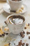 Coffee in a small cup with cane brown sugar stock photos