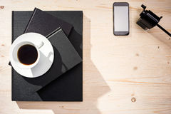Coffee, smartphone and sharpener Royalty Free Stock Photos