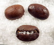 Coffee smile. A closeup of three coffee beans on a bed of sugar, arranged as a smile Royalty Free Stock Images