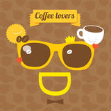Coffee smile sunglasses. Coffee party Vector illustration. Morning coffee theme: cups with coffee, sun and coffee beans Royalty Free Stock Image