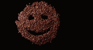 Coffee smiley face made out coffee beans background,  ov Royalty Free Stock Photos