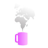 Coffee smokes the world. Vector illustration of a mug of coffee with smoke that figure out the world map Stock Images