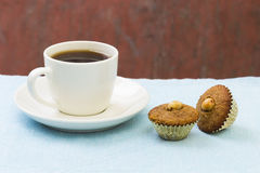 Coffee and snack. Isolated on blue Stock Images